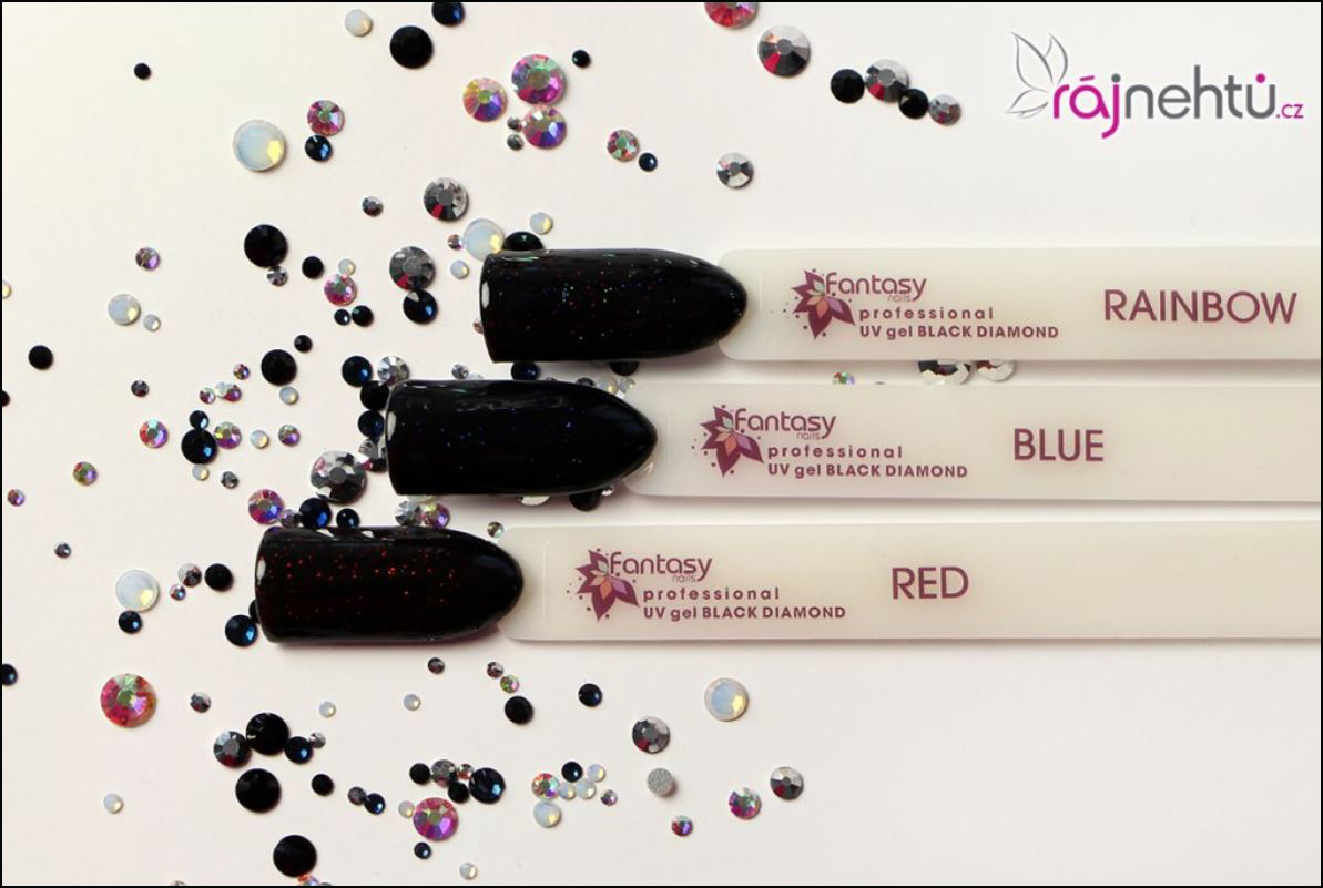 Barevný UV gel Fantasy Black Diamond - Red